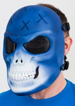 Маска защитная для страйкбол / пейнтбола Череп синий