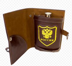 Фляжка 270 мл Россия в черном чехле - книжке