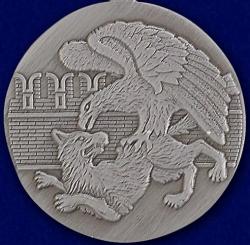 Медаль Защитнику Отечества с орлом в наградной коробке с удостоверением в комплекте